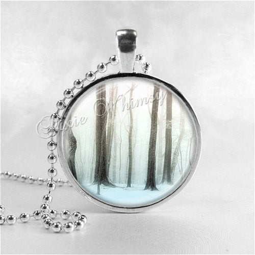 WINTER TREES Necklace, Tree Pendant, Tree Jewelry, Tree Charm, Photo Art Glass Necklace, Nature Jewelry, Tree of Life
