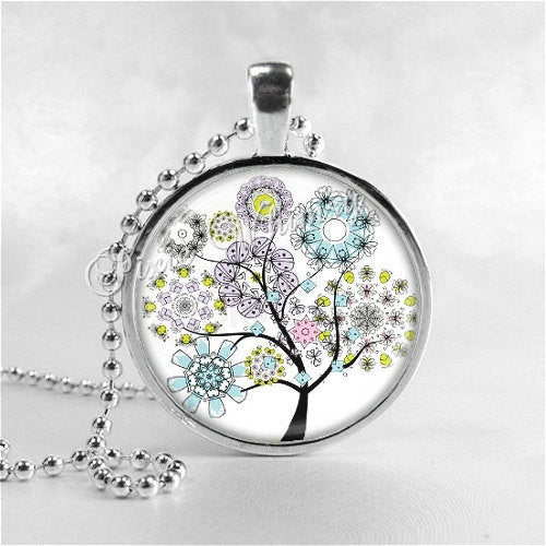 TREES Necklace, Flowering Tree, Tree Pendant, Tree Jewelry, Tree Charm, Photo Art Glass Necklace, Nature Jewelry, Tree of Life