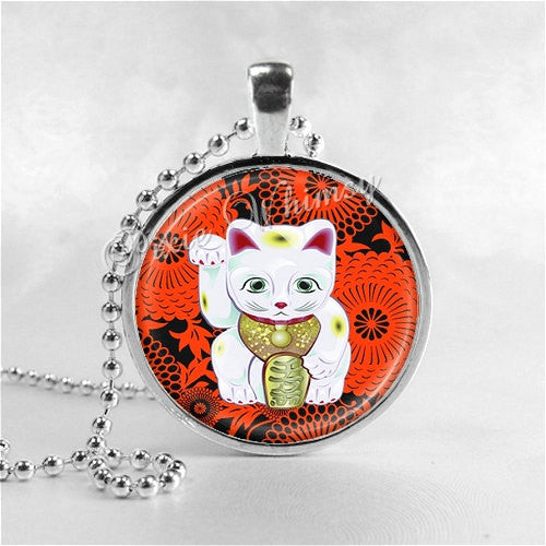 LUCKY CAT Necklace, Cat Pendant, Cat Jewelry, Cat Charm, Glass Photo Art Necklace Pendant, Maneki Neko, Good Fortune, Luck