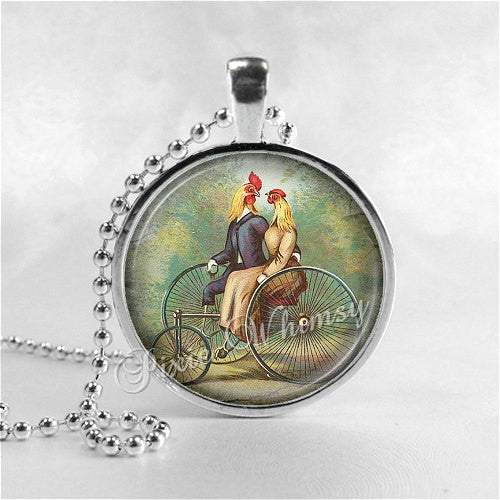 ROOSTER CHICKEN Necklace, Rooster Pendant, Chickens Riding Bicycle, Chicken Jewelry, Bird Necklace, Photo Art Glass Necklace Pendant
