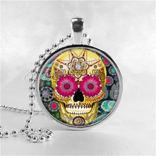 SUGAR SKULL Necklace, Day Of The Dead Jewelry, Round Glass Bezel Pendant Necklace, Sugar Skull Jewelry, Sugar Skull Pendant