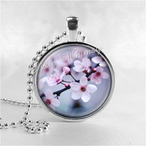 CHERRY BLOSSOM Necklace, Sakura, Flower Necklace, Flower Pendant, Flower Jewelry, Flower Charm, Glass Art Pendant Necklace