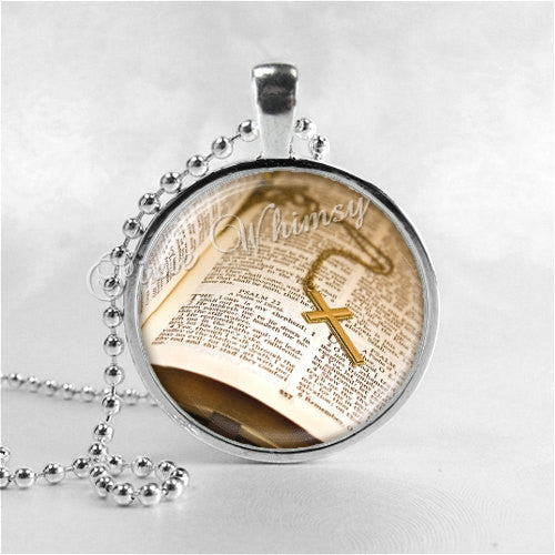 BIBLE and CROSS Necklace, Christian Jewelry, Inspirational Jewelry, Glass Photo Art Necklace, Religious Jewelry