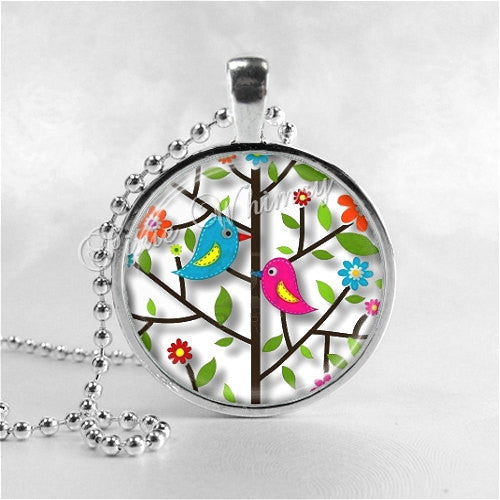 BIRD Necklace, Bird Pendant, Bird Jewelry, Bird Charm, Tree Necklace,  Photo Art Glass Necklace Pendant Charm