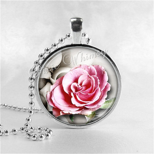 ROSE FLOWER Necklace, Flower Pendant, Flower Jewelry, Glass Art Pendant Charm, Pink Rose