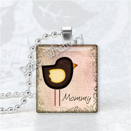 MOMMY Pendant, Mother Pendant, Mom Pendant, Bird, Scrabble Tile Art Pendant Charm Jewelry, Mothers Day