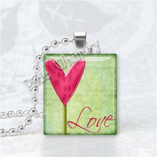 LOVE Pendant, Inspirational Word Jewelry, Scrabble Tile Art Pendant Charm Jewelry, Romantic Jewelry, Love Jewelry, Heart