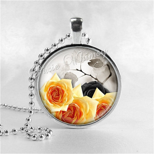 ROSE FLOWER Necklace, Flower Pendant, Flower Jewelry, FLower Charm, Glass Photo Art Pendant Necklace, Yellow Rose