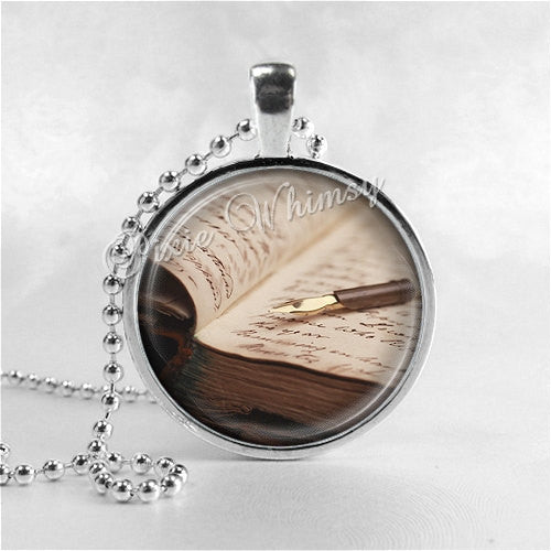 BOOK and PEN Necklace, Journal, Journalist, Writer, Writing, Author, Photo Art Pendant Jewelry Charm, Jewelry for Writers