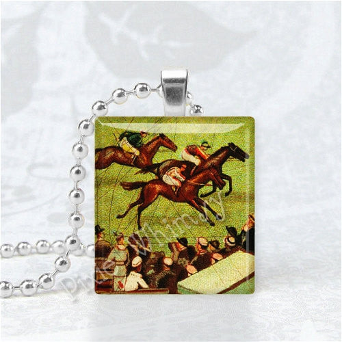 HORSE RACING, Horse Necklace, Horse Pendant, Horse Race, Equestrian, Jockey, Scrabble Tile Art Necklace Pendant Charm Jewelry