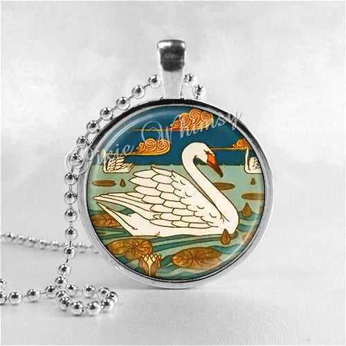 ART DECO Jewelry, Swan Necklace, Swan Jewelry, Bird Jewelry, Swan Pendant, Swan Charm, Bird Necklace