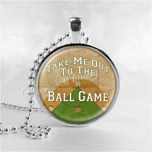 Take Me Out To The Ball Game Necklace, Baseball Necklace, Baseball Jewelry, Sports Jewelry, Glass Photo Art Pendant