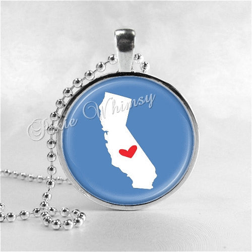CALIFORNIA STATE Necklace, I Love California, California Map Jewelry, California Pendant, California Charm, Glass Photo Art Pendant Necklace