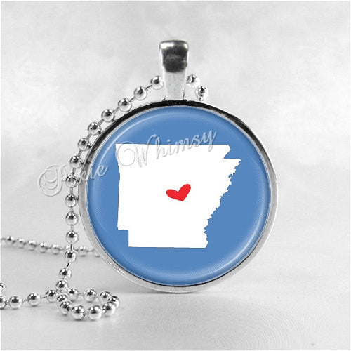 ARKANSAS STATE Necklace, I Love Arkansas, Arkansas Map Jewelry, Arkansas Pendant, Arkansas Charm, Glass Photo Art Pendant Necklace