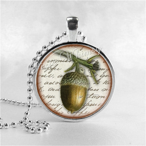 ACORN Necklace, Acorn Pendant, Acorn Jewelry, Acorn Charm, Glass Photo Art Pendant Charm, Oak Tree