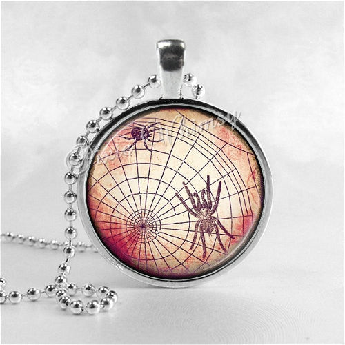 SPIDER and SPIDERWEB Necklace, Spider Necklace, Spider Pendant, Spider Jewelry, Glass Art Pendant Charm, Gothic, Insect Jewelry