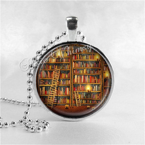 BOOK Necklace, Library Books, Photo Art Pendant Jewelry Charm, Read, Book Lover Jewelry, Book Nerd, Antique Books, Librarian, Library