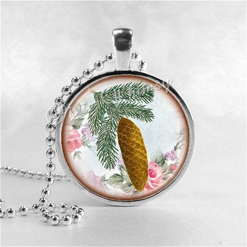 PINE CONE Necklace, Pinecone, Pinecone Pendant, Pinecone Jewelry, Pinecone Charm, Glass Photo Art Pendant Charm, Pine Tree