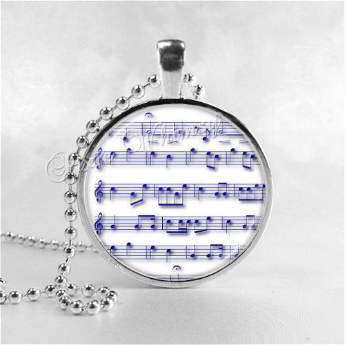 MUSIC Necklace, Musical Note, Sheet Music, Music Pendant, Music Jewelry, Music Charm, Art Glass Necklace, Musician, Disc Jockey, DJ Jewelry