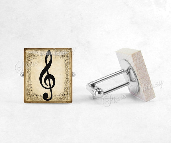 TREBLE CLEF Scrabble Tile Cufflinks, Cuff Links, Music Cufflinks, Musician, Mens Accessories, Gifts For Men, Music Lover