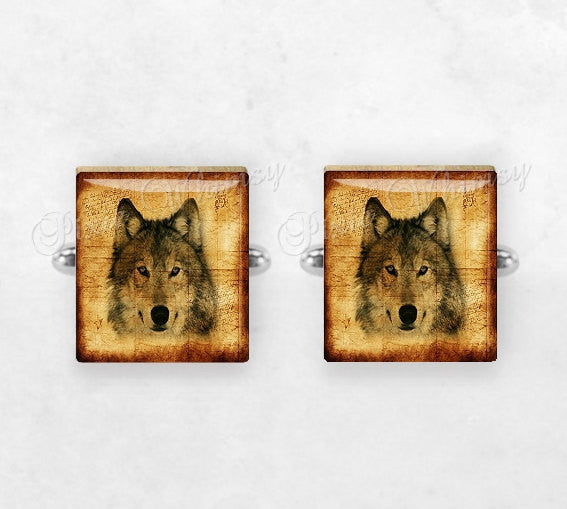 WOLF Scrabble Tile Cufflinks, Wolf Cuff Links, Wild Animal Cufflinks, Woodland, Animal Cuff Links, Mens Accessories, Gifts For Men