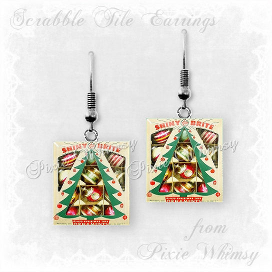 CHRISTMAS ORNAMENTS Scrabble Tile Earrings, Christmas Ornaments, Vintage Christmas Ornaments, Christmas Jewelry, Christmas Tree Ornaments
