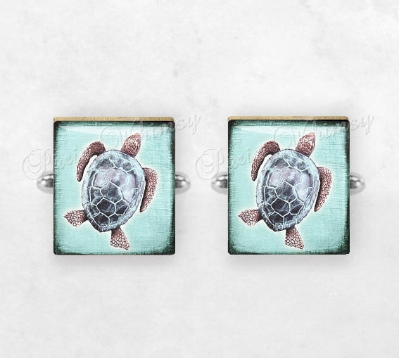 TURTLE Scrabble Tile Cufflinks, Sea Turtle Cuff Links, Nautical Cufflinks, Marine Life, Tortoise, Mens Accessories, Gifts For Men