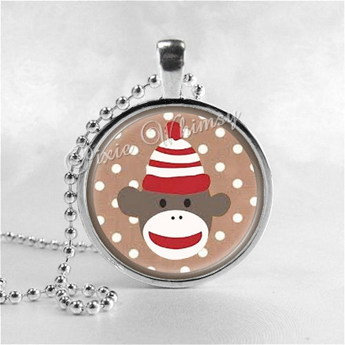 SOCK MONKEY Necklace, Sock Monkey Pendant, Sock Monkey Jewelry, Sock Monkey Charm, Glass Photo Art Pendant Necklace
