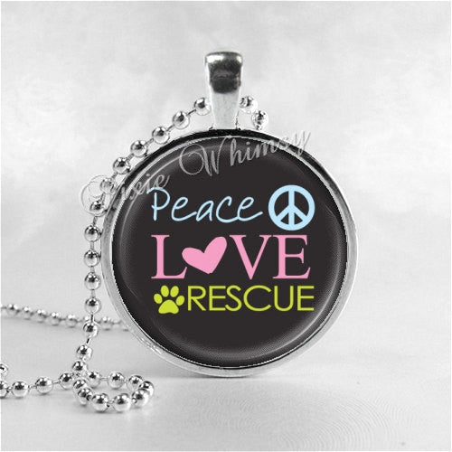 ANIMAL RESCUE Necklace, Peace Love Rescue, Humane, Animal Rescue, Animal Adoption, Dog Rescue, Cat Rescue, Pet Adoption, Pet Rescue