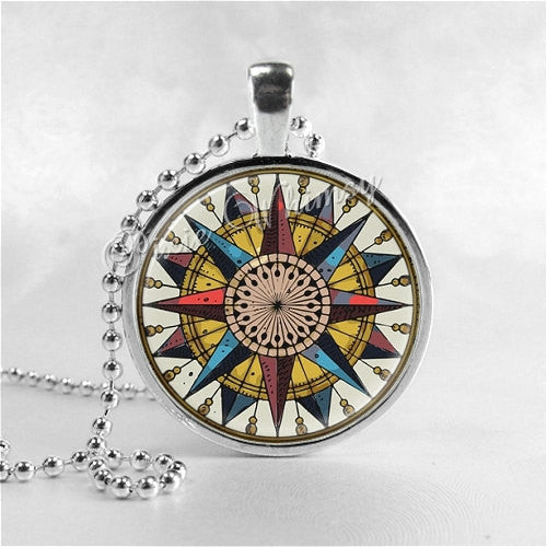 NAUTICAL COMPASS Necklace, Marine Compass, Mariners Compass, Compass Rose, Nautical Jewelry, Nautical Necklace, Nautical Pendant, Boat, Ship