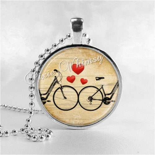 BICYCLE Necklace, Bicycle Pendant, Bicycle Jewelry, Bicycle Charm, Bike Necklace, Glass Photo Art Necklace Pendant Charm