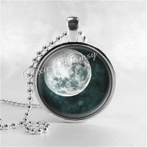 MOON Necklace, Full Moon, Glass Photo Art Pendant, Space, Galaxy, Outer Space, Space Jewelry, Galaxy Jewelry