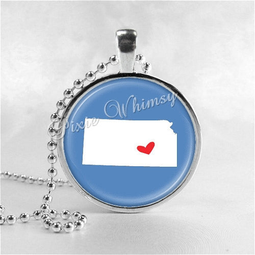KANSAS STATE Necklace, I Love Kansas, Kansas Map Jewelry, Kansas Pendant, Kansas Charm, Glass Photo Art Pendant Necklace