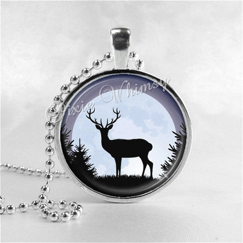 DEER Necklace, Deer Pendant, Deer Jewelry, Deer Charm, Glass Photo Art Pendant Charm, Animal Jewelry, Gift for Hunter, Nature Jewelry