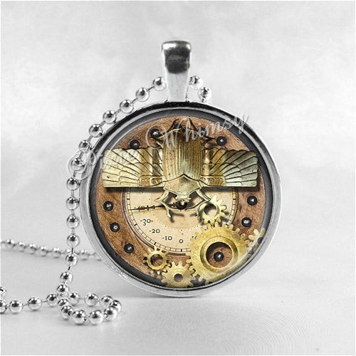 STEAMPUNK Necklace, Steam Punk Necklace, Egyptian Scarab Beetle, Gears, Gothic Jewelry, Glass Art Pendant Charm, Grunge