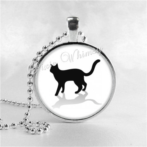 CAT Pendant Necklace Jewelry, Cat Silhouette Charm Glass Photo Art Necklace Pendant, Black White Cat Kitten, Gift for Cat Lover Owner