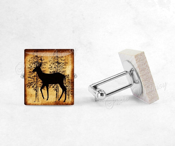 DEER Cufflinks, Deer Cuff Links, Scrabble Tile Cufflinks Hunting Woodland Animal Mens Accessories, Gifts For Men, Fathers Day Gift