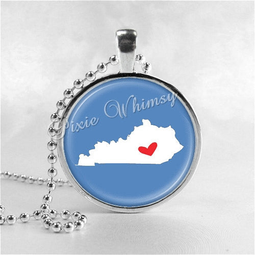 KENTUCKY STATE Necklace, I Love Kentucky, Kentucky Map Jewelry, Kentucky Pendant, Kentucky Charm, Glass Photo Art Pendant Necklace