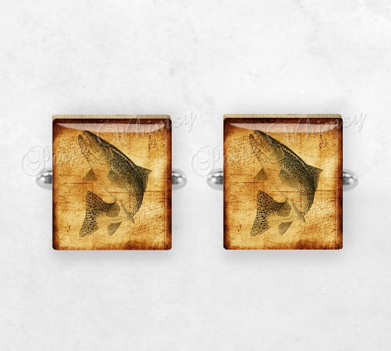 RAINBOW TROUT FISH Scrabble Tile Cufflinks, Rainbow Trout Fish Cuff Links, Fishing, Sporting, Mens Accessories, Gifts For Men