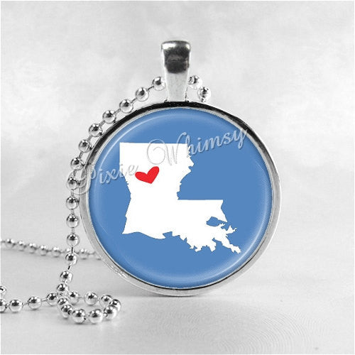 LOUISIANA STATE Necklace, I Love Louisiana, Louisiana Map Jewelry, Louisiana Pendant, Louisiana Charm, Glass Photo Art Pendant Necklace