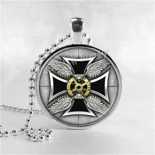STEAMPUNK MALTESE CROSS Necklace, Steampunk Cross Pendant, Cross Jewelry, Glass Art Pendant Charm, Religious Jewelry, Grunge Cross