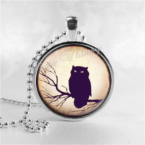 OWL Necklace, Bird Necklace, Owl Pendant, Owl Jewelry, Owl Charm, Glass Photo Art Necklace, Bird Jewelry, Gothic Necklacle, Owl In Tree