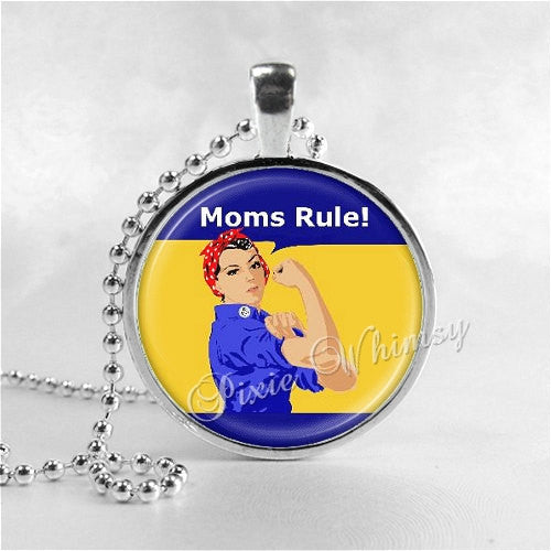 MOMS RULE Necklace, Mother Necklace, Mother Pendant, Glass Art Pendant Charm, Mothers Day