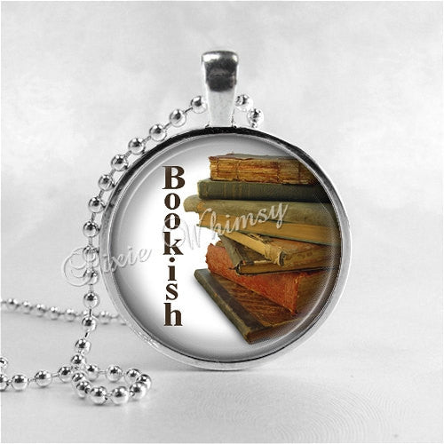 BOOKISH, Book Necklace, Book Jewelry, Glass Photo Art Necklace, Read, Book Lover Jewelry, Book Nerd, Antique Books, Librarian, Library