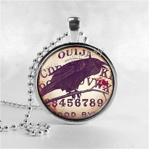 RAVEN Necklace, Bird Necklace, Raven Pendant, Raven Jewelry, Raven Charm, Glass Art Necklace, Bird Jewelry, Gothic Necklacle, Ouija Board