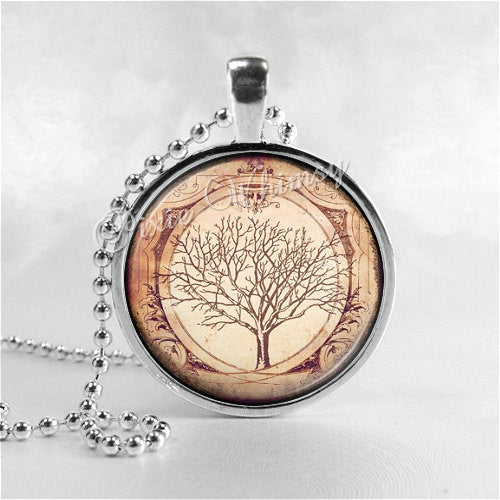 TREE Necklace, Tree Pendant, Tree Jewelry, Tree Charm, Photo Art Glass Necklace, Nature Jewelry, Tree of Life, Gothic Tree, Vintage Tree