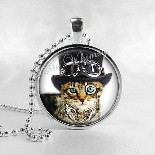 STEAMPUNK TABBY CAT Necklace, Steam Punk Cat, Cat Necklace, Cat Pendant, Cat Jewelry, Glass Art Pendant Charm, Steampunk Jewelry, Gothic