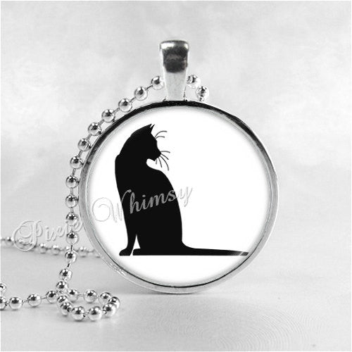 CAT Silhouette Necklace Pendant Jewelry Charm Glass Photo Art Necklace Kitten Kitty  Minimal Minimalist Black White