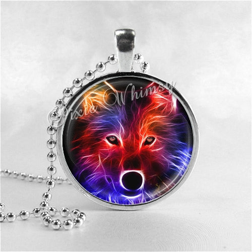 WOLF Necklace, Wolf Pendant, Wolf Jewelry, Wolf Charm, Glass Photo Art Pendant Charm, Animal Jewelry, Fractal Art