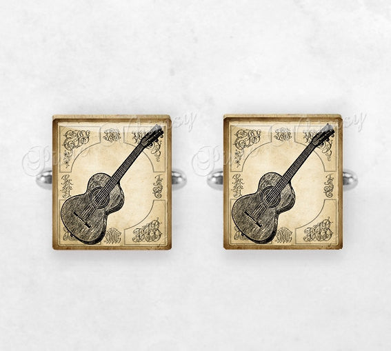 GUITAR Scrabble Tile Cufflinks, Cuff Links, Musical Instrument, Classical Acoustic Guitar, Mens Accessories, Gifts For Men, Music Lover